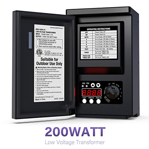 GOODSMANN Low Voltage Transformer 200 Watt with Timer, Photo Eye Sensor and Weather Shield for Outdoor Lighting 120V AC to 12V AC 9920-0200-01