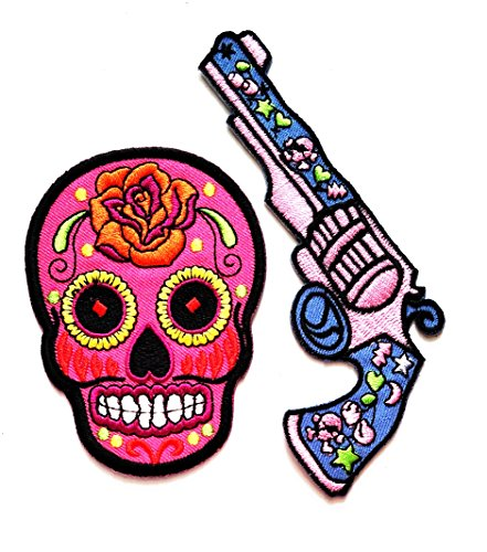 Nipitshop Patches Set 2 Pcs Pink Gun with Flowers Patch Pink Sugar Skull Day of The Dead Tattoo Patch Red Bee Retro Boho Cartoon Kid DIY Applique Embroidered Patch for Clothes or Gift Sets