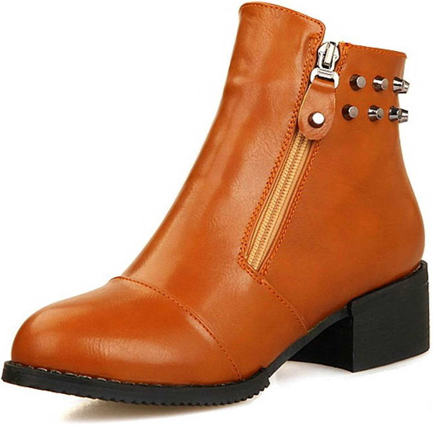 A&N Womens Square Heels Rivet Round Toe Imitated Leather Boots
