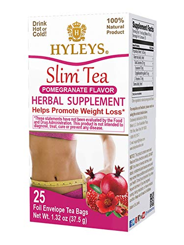12 Pack - Hyleys Slim Tea Pomegranate (100% Natural, Sugar Free, Gluten Free and Non-GMO)