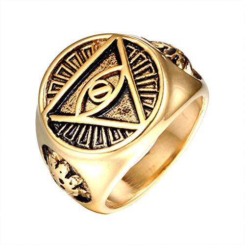 AOLIGEl Anillo de Acero Inoxidable para Hombre Illuminati pirámide de Ojo Que Todo lo ve/Anillo de símbolo de Ojo tamaño 7-13#