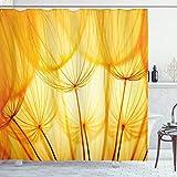 ABAKUHAUS Gelb Duschvorhang, Löwenzahn Sommergarten, Klare Farben aus Stoff inkl.12 Haken Farbfest Schimmel & Wasser Resistent, 175 x 180 cm, Merigold & Weiß