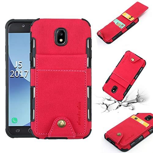 LENASH For Galaxy J5 (2017) Textura de Tela + TPU Funda Protectora a Prueba de Golpes con Ranuras de Tarjetas de Flip Vertical (Negro) Funda para Phone (Color : Rose Red)
