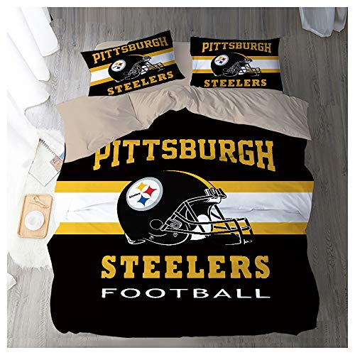HOXMOMA Duvet Cover Sets 3D Printing NFL Pittsburgh Steelers, Children Adult Bedding Set 3 Pieces 100% Polyester, Soft Microfiber Quilt Cover and 2 Pillow Shames,Black,UK 230x220