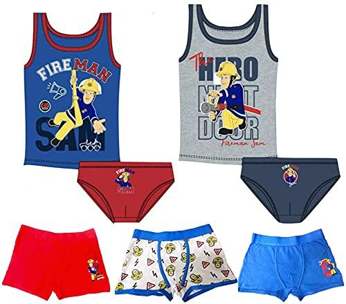Coole-Fun-T-Shirts MEGASET 2X Unterhemden + 5X Jungen Slips Unterhosen und Boxershorts , kompatibel zu Feuerwehrmann Sam MEGAPACK 7 Teile Set Kinderslips Schlüpfer Unterwäsche Gr.110 / 116