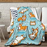 Avalokitesvara Cute Corgi Blue Flannel Blanket,Throw Soft Warm Fluffy Plush,Lightweight Microfiber for Bed Couch Chair Living Room 50x40 Inch for Kid