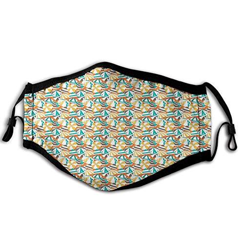 Comfortabele Winddichte Gezichtskap,Crowded Beach in De Zomer Paraplu's met Stripes Dots en Zigzag Lijnen Patroon, Gedrukte Gezichtsdecoraties voor man en vrouw