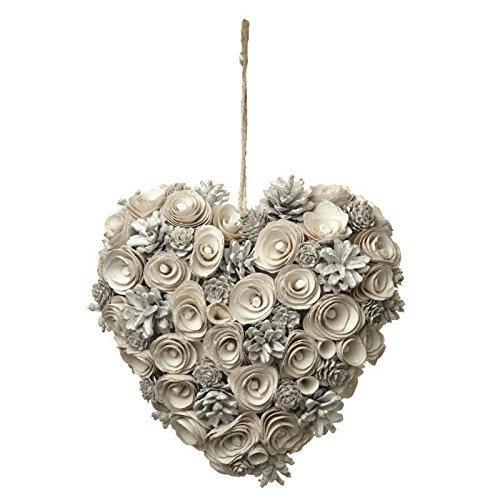 Hunky Dory Gifts Corona di Pinecone Rustic White-Cream Heart Sparso Chic Decorazione natalizia di Natale