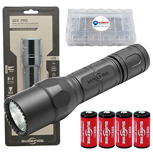SureFire G2X Pro 600 Lumen Tactical EDC Flashlight Bundle with 2 Extra CR123A Batteries and Lightjunction Battery Case (Black)
