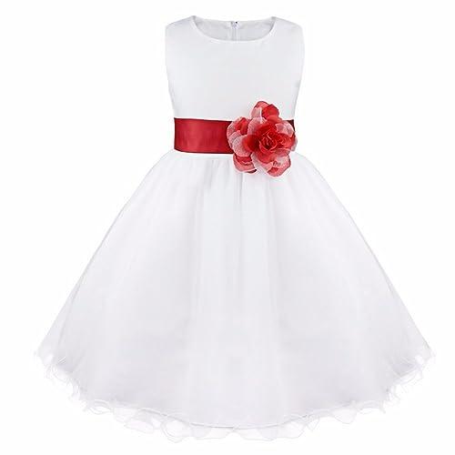 73063fcfa1 IEFIEL Robe Demoiselle Enfant Princesse Ceinture Fleur Noeud Papillon Blanche  Robe Filles 2-14 Ans