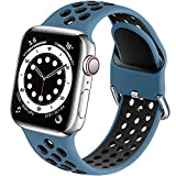 Muranne Sport Band Compatible with Apple Watch 44mm 42mm SE iWatch Series 6 5 4 3 2 1, Cute Breathable Soft Silicone Sport Replacement Wristband for Women Men, Rock Blue/Black, M/L