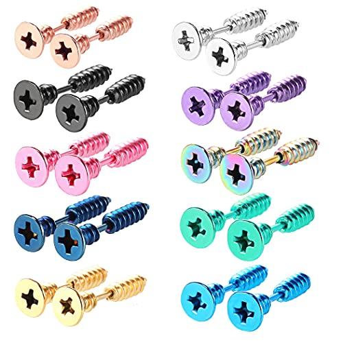 yanqiu 10 pares de aretes de acero inoxidable estilo punk multicolor con tornillo de tuerca gótica neutral para hombres y mujeres con pincho de oro en pendientes Punk (Multi)