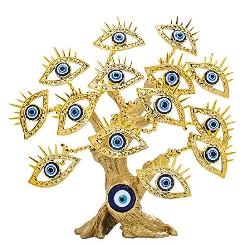 YU FENG - Estatua de árbol turco de ojo azul, resina vidrio, 14 Dorado