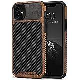 TENDLIN Funda iPhone 11 Madera con Carbono y Cuero Híbrido Carcasa Compatible con iPhone 11 (Negro)