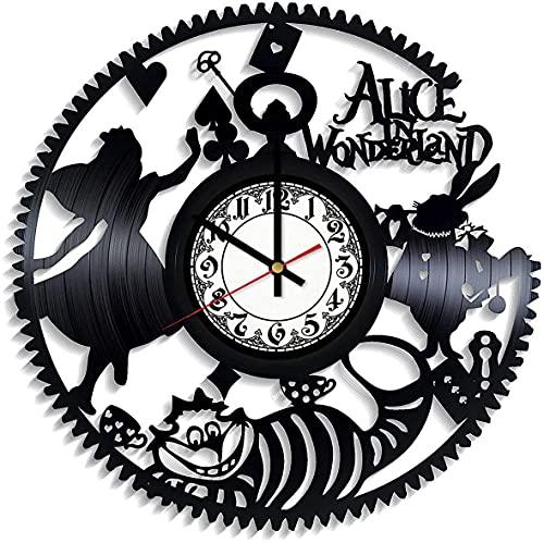 Alicia en el país de las maravillas Fantasy Film Vinilo Record Retro Reloj de pared Cumpleaños Año Nuevo Navidad regalo de cumpleaños Personalidad creativa hogar decoración de pared