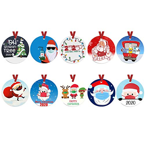 10PC Christmas Ornaments, Cute Santa Clause Pendant, Double-Sided Christmas Tree Ornament Hanging Decorations, Wooden Handmade Ornament Creative Gifts for Friends