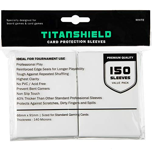 TitanShield (150 Sleeves / White Standard Size Board Game Trading Card...