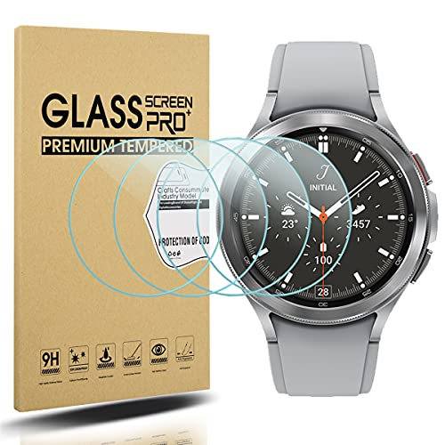 Diruite 4 Stück Panzerglas für Samsung Galaxy Watch 4 Classic 42mm Schutzfolie,HD Glas Bildschirmschutzfolie für Samsung Galaxy Watch 4 Classic 42mm Intelligente Uhr[Anti-Kratzen][Keine Blasenfrei]