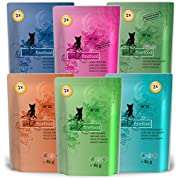 catz finefood Multipack 2, 12 x 85g Beutel, Feinkost Katzenfutter nass, Sorten Mix-Paket 2 mit Huhn, Thunfisch, Rind, Rotbarsch, Lamm, Garnelen, Wild