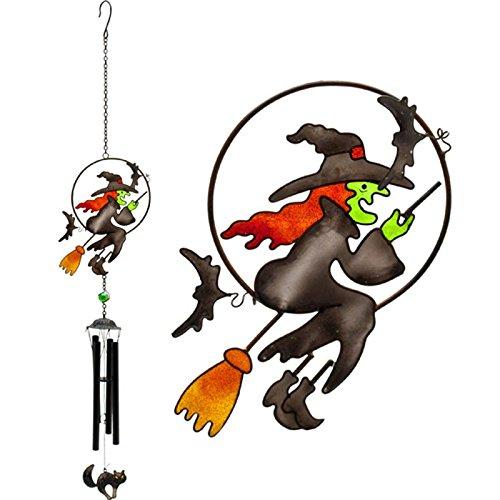 Flying Hexe auf einem Besen Design Windspiel Glas, Metall, Kunstharz Haus und Garten Ornament