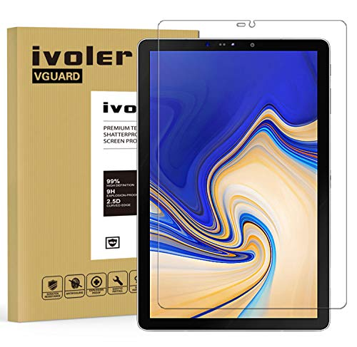 ivoler Compatible With Samsung Galaxy Tab S4 10.5 inch (T830 / T835) Screen Protector, Tempered Glass Film, [9H Hardness] [Anti-Scratch] [Crystal Clear]