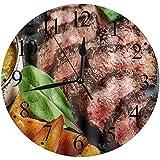 Yaoni Silencioso Wall Clock Decoración de hogar de Reloj de Redondo,Juicy Rump Steak de Marble Beef Medium Raro con Papas y Salsa en Placa de Piedra Cerrar gráfico,para Hogar, Sala de Estar, el Aula