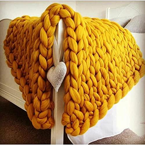 Manta de Lana Merino Gruesa de Moda Manta de Punto de Hilo Grande y Grueso Manta de Punto de Invierno Mantas de Tiro cálidas sofá Cama Manta de Color de Imagen, 100x100cm