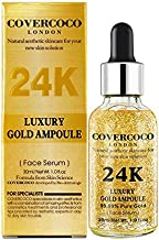 24K Luxury 99.9 percent pure Gold Ampoule Facial serum Anti acne Moisturizer Whitening Anti Aging Intensive face Lifting Firming Britening Anti Wrinkle Natural aesthetic skin Care solution
