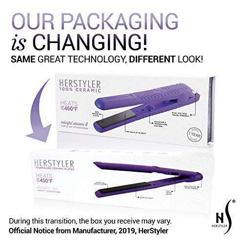 Herstyler Tourmaline 1 Inch Flat Iron - Dual Voltage Straightener - Flat Iron with Floating Plates - Adding Versatility to Style - (Purple)