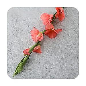 Silk Flower Arrangements PrettyR 99cm 6 Head Artificial Gladiolus Decor Home Garden Wedding Flower Arrangement Gladioli Fake Plants Silk red White Pink-Pink