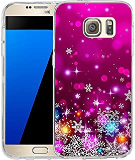 S7 Case Christmas Design Rose red snowflakes, LAACO Scratch Resistant TPU Gel Rubber Soft Skin Silicone Protective Case Cover for Samsung Galaxy S7