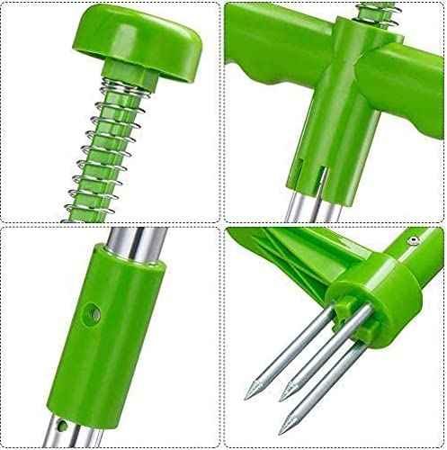 Wabjsew Grandpa's Stand-Up Weeder Root Removal Tool with 3 Stainless Steel Claws, 39
