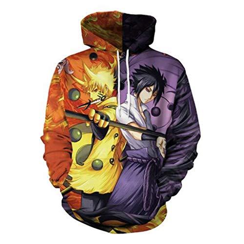 ABCDE Suéter con Capucha con Estampado de Anime Naruto 3D, Sudadera Unisex cómoda y Ligera, Manga Larga (Color : Hooded Sweater, Size : X-Large)