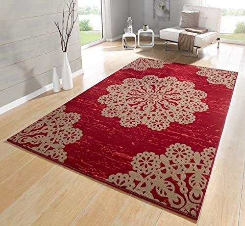 Bavaria Home Style Collection- Teppiche für Wohnzimmer - Teppich Beige Schwarz Braun Grün Creme Rot, Kurzflor Teppich Modern, Teppichboden mit Design Muster Marokkanisch ÖKOTEX 160x230 cm Groß (Rot)