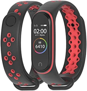 MEEFIX Wrist Strap TPU Bracelet Replacement Wristband for Xiaomi Mi Band 4 (black-red)