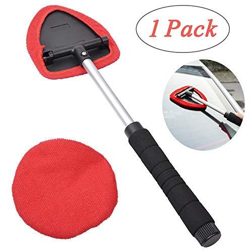 LANGYINH - Limpiador de parabrisas de coche retráctil, herramientas de limpieza de cristales con toallitas de microfibra lavables para eliminar la niebla y la humedad (rojo)