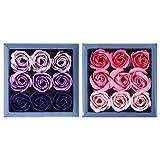 VORCOOL 2 Boxen Valentinstag Rose Box Seife Rosenblatt Langlebigen Blumenstrauß Ewigen Blumenkopf...