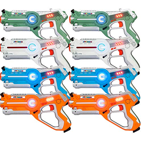 JOYMOR Laser Tag Guns Set of 8 Tag Blasters ,Multiplayer Mode,Best Toy for Boys Girls for Indoor and Outdoor Activity- Infrared 0.9mW (8 Pack)