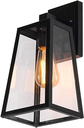 Wandleuchte E27 Eisen Glas grau rostfarbig Rustikal schwarz