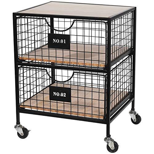 Multistore 2002 Rollcontainer, 2 Schubladen, rollbar 37,5x35,5xH46cm - Schubladenschrank Rollwagen Organizer für Bad Büro Haushalt