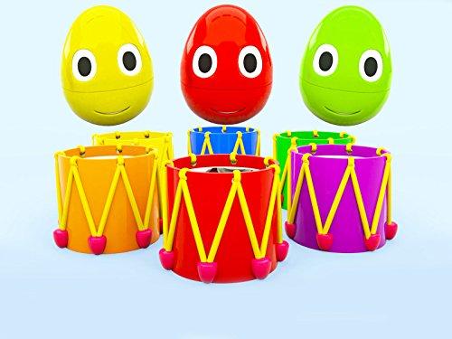 Lerne Farben mit kleinen Eiern - farbigen Trommeln
