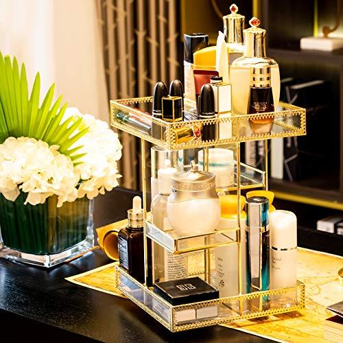 Dawoo Schminkveranstalter Antique Countertop Kosmetische Aufbewahrung Box Spiegel Glas Beauty Display, Gold Spin Large Capacity Holder für Pinsel Lippenstifte