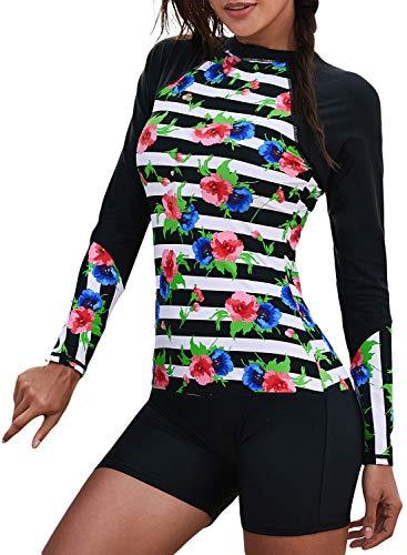 Women's One Piece Rash Guard Zip Front, Full Body Cover Wetsuit, Sun Protection Long Sleeve Dive Skin Surf Suit S-XXXL (XXL(US 18-20), Black Floral)