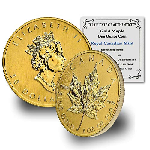 1979 CA - Present (Random Year) 1oz Gold Maple Leaf by CoinFolio w/ COA Gold $50 Brilliant Uncirculated Random Year