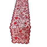 boyspringg Chemin de Table à Broder avec Pompons Feuilles de Houx Style Campagne Broderie Motif Floral Rouge Lavable pour décoration de Noël Mariage 1 Chemin de Table.