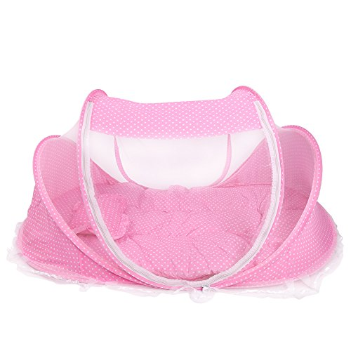 Infant Mosquito Tent, Portable Lightweight Baby Travel Tent Foldable Mosquito Net Folding Anti-Bug Crib Sun Shelter Tent with Mattress Pillow for Baby Infant (Pink)
