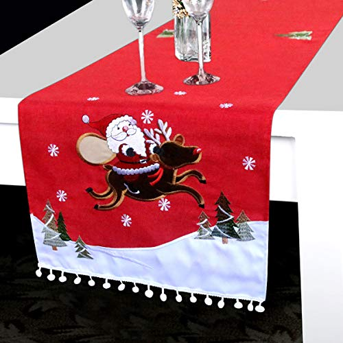 """Christmas Table Runner - Red Table Runner w/Embroidered Xmas Patterns Dining Table Runner for Christmas Decorations Polyester Table Runner 71"""" x 16"""" Round Table Runner Table Linen for Party Supplies"""