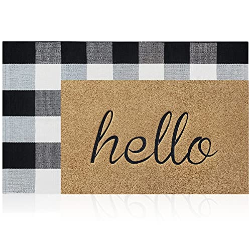 """LAN SHAN QUE Doormat Combo Set Brown Hello Mat Outdoor Indoor with Non Slip Rubber Backing+Buffalo Plaid Rug 24""""x36"""" Black and White for Layered Decorative Easy Clean Front Door Welcome Mat"""