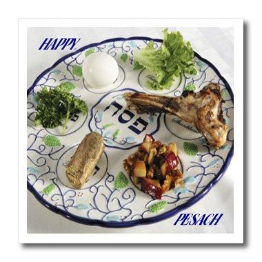3dRose ht_37364_3 Pesach-Teller mit Pessach-Lebensmitteln, zum Aufbügeln, für weißes Material, 25,4 x 25,4 cm