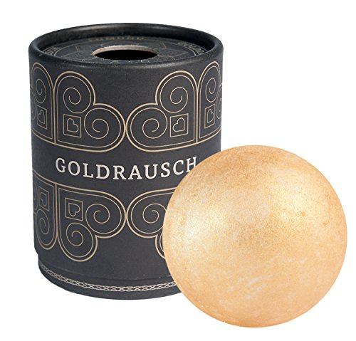 Deluxe Badebombe Goldrausch, 180 Gramm schwere XXL Badekugel mit pflegender Shea Butter, vegan & tierversuchsfrei, von Venize